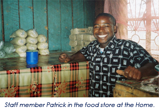 Staff member Patrick in the food 